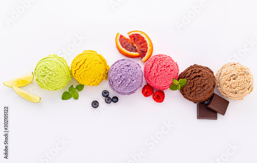 Various of ice cream flavor ball blueberry ,lime ,pistachio ,almond ,orange ,chocolate and vanilla isolate on white background Wallpaper Mural