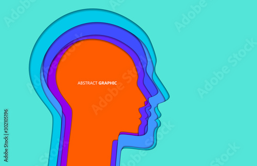 Fotografiet The head graphic design of paper-cut and hollow style,Vector illustration