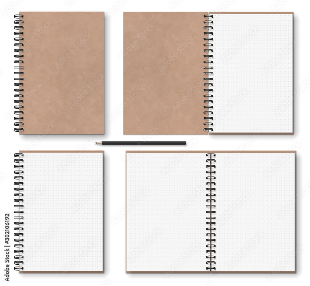Fototapeta realistic blank open, closed brown kraft paper texture notebook with black metal spiral on left, wooden pencil, above view, stock vector illustration clip art objects set isolated on white background