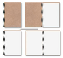 Realistic Blank Open, Closed Brown Kraft Paper Texture Notebook With Black Metal Spiral On Left, Wooden Pencil, Above View, Stock Vector Illustration Clip Art Objects Set Isolated On White Background