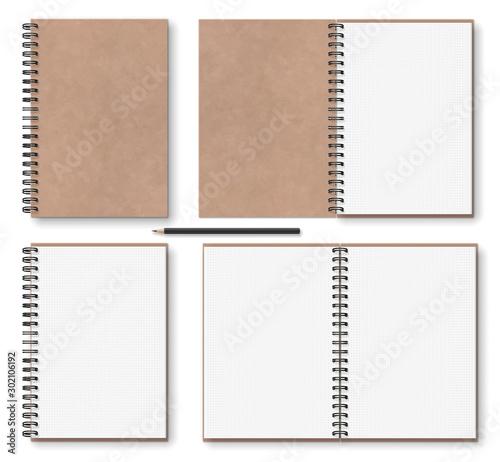 realistic blank open, closed brown kraft paper texture notebook with black metal Fototapet