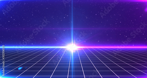 Fotobehang Violet Retro Sci-Fi Background Futuristic Grid landscape of the 80`s. Digital Cyber Surface. Suitable for design in the style of the 1980`s. 3D illustration