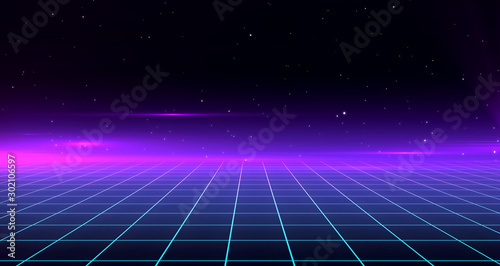 Poster Violet Retro Sci-Fi Background Futuristic Grid landscape of the 80`s. Digital Cyber Surface. Suitable for design in the style of the 1980`s. 3D illustration
