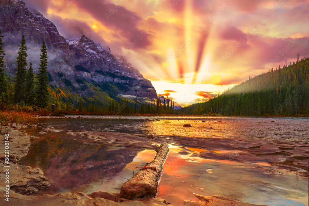 Fototapety, obrazy: Colorful Sunrise Over Mountain River