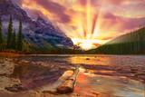 Fototapeta Fototapety na ścianę - Colorful Sunrise Over Mountain River