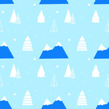 Seamless Pattern Features Snowy Mountains And Snow Pine Trees On Blue Background. Perfect For Christmas Print, Background, Card, Fabric, Patterns.