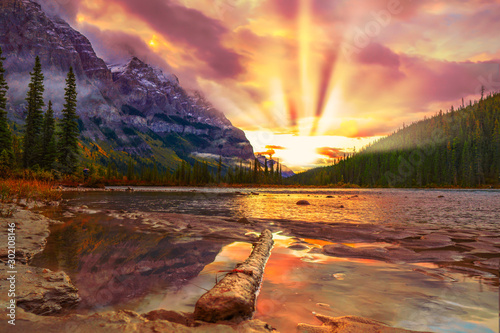 Door stickers Beautiful morning Colorful Sunrise Over Mountain River