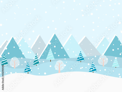 Foto auf AluDibond Licht blau Winter forest at daylight and blue mountains winter snowy landscape. Vector illustration.