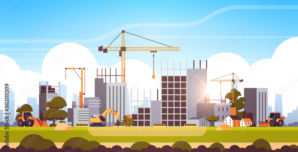 Fototapeta modern construction site with cranes tractor and bulldozer unfinished building exterior sunset background flat horizontal vector illustration