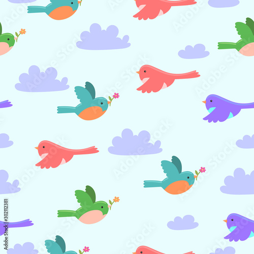 Seamless pattern with cartoon birds and clouds .Vector graphic. Canvas Print