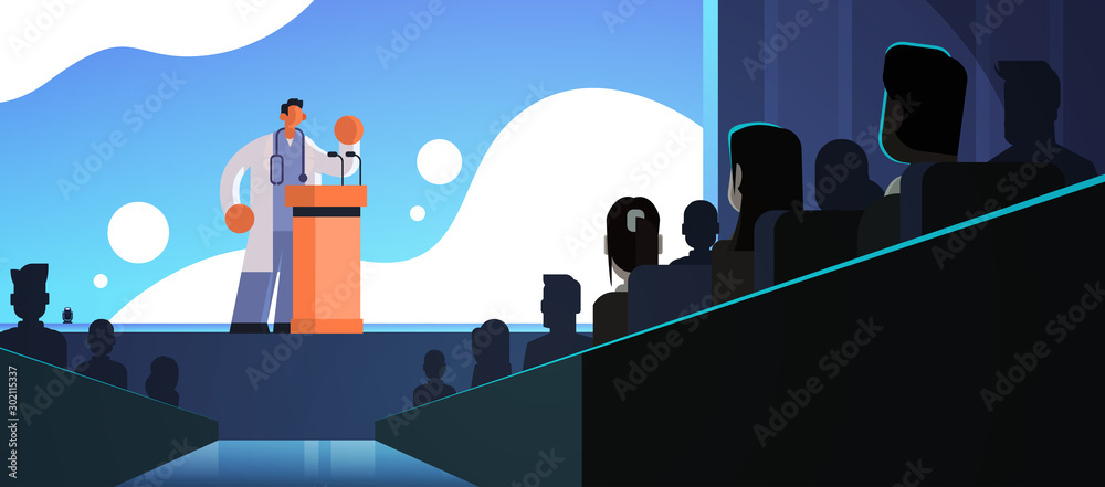 Fototapeta male doctor in white coat giving speech from tribune with microphones medicine healthcare concept people group silhouettes conference meeting seminar flat horizontal vector illustration