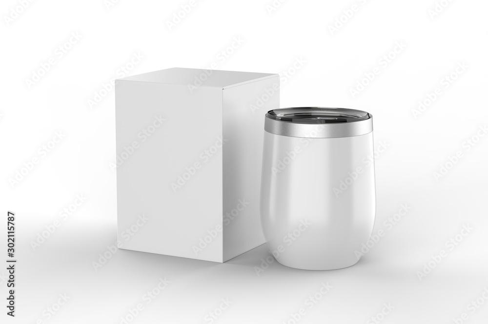 Fototapeta Blank  Insulated Stainless Steel Wine Cup Gift Box For Branding. 3d render illustration.