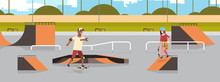 Skaters Performing Tricks In Public Skate Board Park With Various Ramps For Skateboarding Mix Race Teenagers Couple Having Fun Riding Skateboards Landscape Background Flat Full Length Horizontal