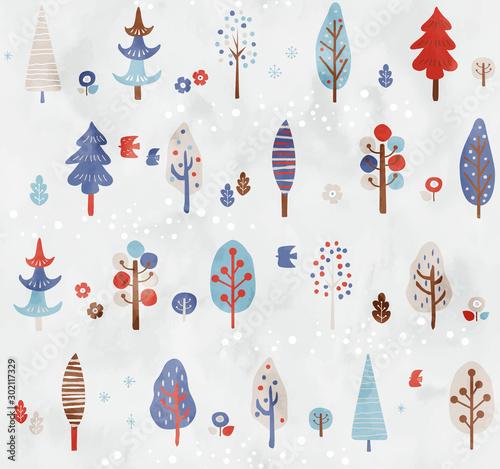 Fotomural  木のパターン冬色4