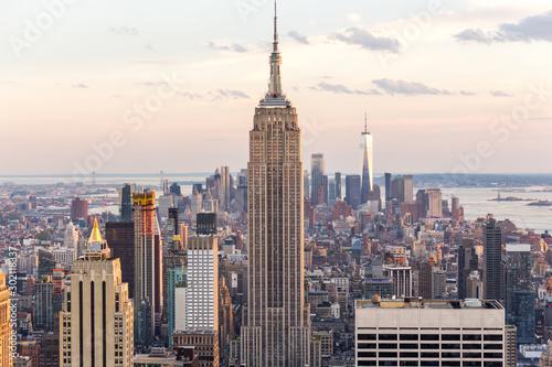 Fototapeta New york, USA - May 17, 2019: New York City skyline with the Empire State Buildi