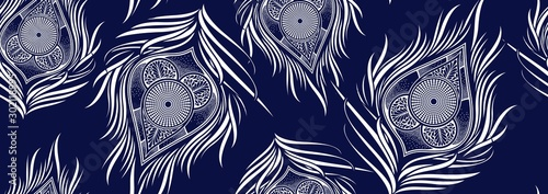 Valokuvatapetti Peacock's tail seamless pattern, african fashion ornament in vibrant colours, pi