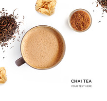 Creative Layout Made Of Chai Tea On White Background. Flat Lay. Food Concept. Macro Concept.