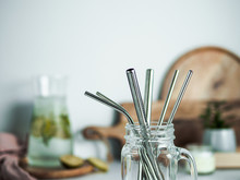 Metal Drinking Straws In Glass...