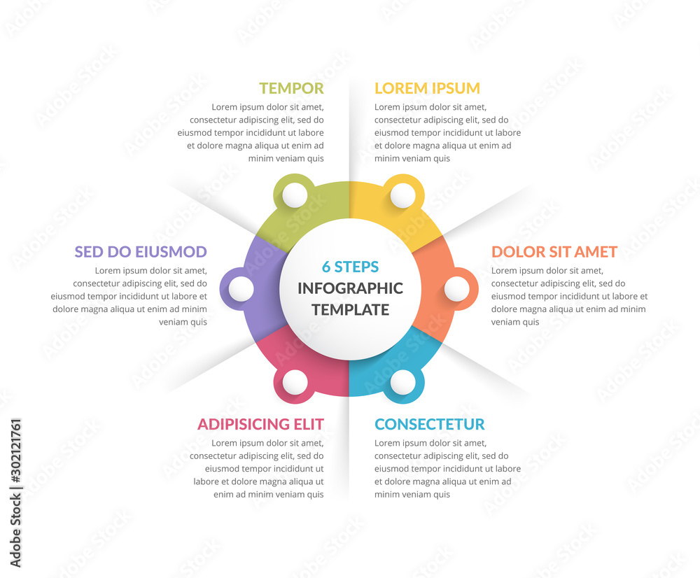 Fototapety, obrazy: Circle Infographics - Six Elements