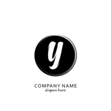 Initial Letter Y With Black Circle Brush Logo Template