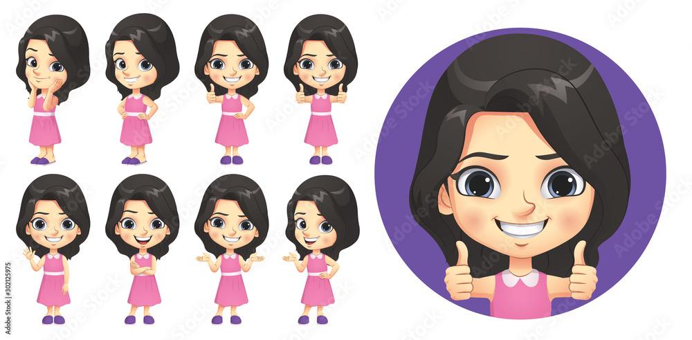 Fototapeta Little Girl Character Set