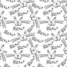 Seamless Pattern With Meow Let...