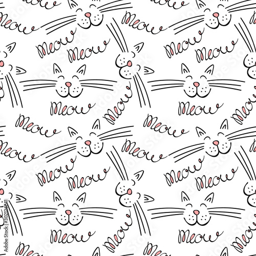 Fotografie, Obraz Seamless pattern with meow lettering and cat face
