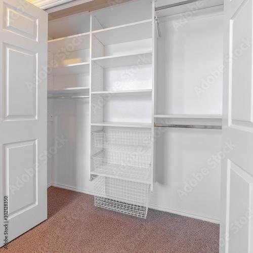 Slika na platnu Square Empty white built in closet or wardrobe interior