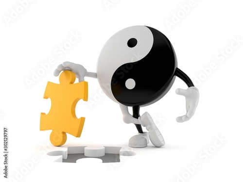 Jing Jang character with jigsaw puzzle Canvas Print