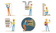 Electricians In Uniform Repair Wiring. Vector Illustration.