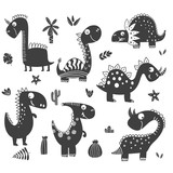 Fototapeta Dinusie - Dinosaurs clipart in black and white