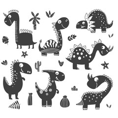 Dinosaurs clipart in black and white