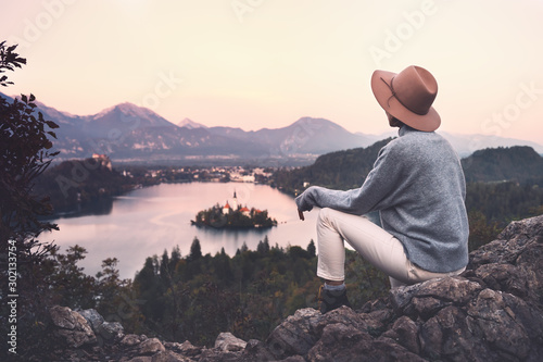 Keuken foto achterwand Lavendel Traveling young woman looking at Bled Lake, Slovenia, Europe