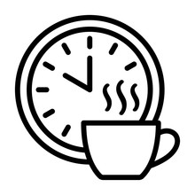 Coffee Break Time Off Line Art Vector Icon For Apps And Websites