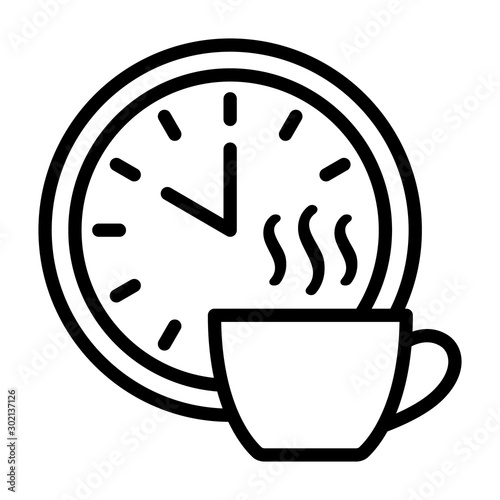 Photo Coffee break time off line art vector icon for apps and websites