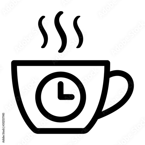 Obraz na plátně  Coffee break from work line art vector icon for apps and websites