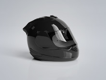 Black Motorcycle Helmet Isolat...
