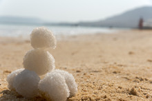 Relax Balls Of Salt On The Sand. Sky Horizon. Sea. Sand.