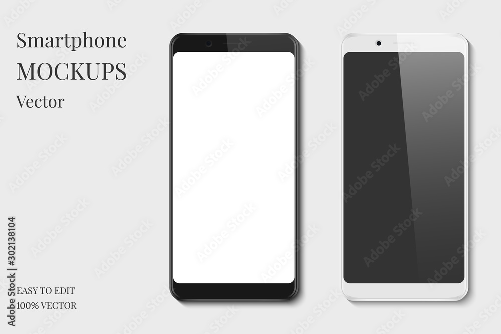 Fototapeta Set of smartphone display mockup. Black and white mobile phone with blank screen isolated on grey background.