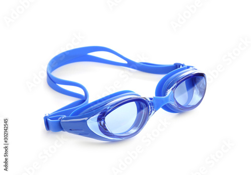 Photo Blue swim goggles isolated on white. Beach object