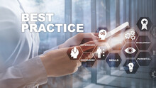 Best Practice On Virtual Screen. Business, Technology, Internet And Network Concept.