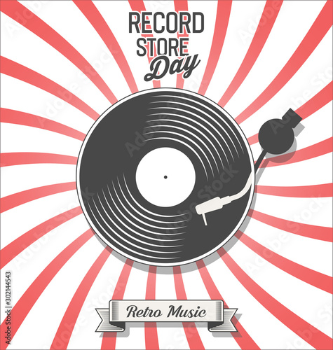 Cuadros en Lienzo Retro vinyl record store day background