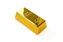 1kg Gold Bullion, Gold Ingot Isolated . Gold Bar On White Background