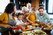 canvas print picture - Cheerful family spending good time together while cooking in kitchen