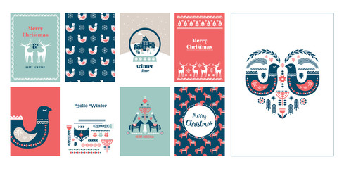 Winter folk art greeting card set in Scandinavian, Nordic style.