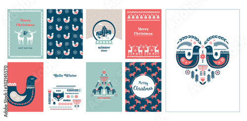 Winter folk art greeting card set in Scandinavian, Nordic style. Slika na platnu