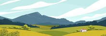 Panoramic Landscape With Meadows And Mountains. House In Rural Area Vector Illustration. Scenic Outdoor Nature View With Cottage In Countryside. Idyll Country Life. Green Hills, Blue Sky.