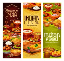 Indian Meat Curry, Rice And Vegetables, Dessert