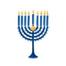 Menorah With David Star Vector...