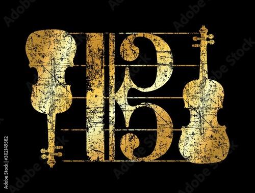 Obraz Alto Clef Violas (Vintage Gold) - fototapety do salonu